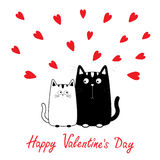 Glücklicher Valentinsgrußtag Weißer Katzenjunge des netten Karikaturschwarzen und Mädchenfamilie Miezekatzepaare auf Datum Lustig Lizenzfreies Stockfoto