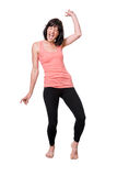 Glückliches barfüßig Tanzen der jungen Frau Lizenzfreies Stockbild