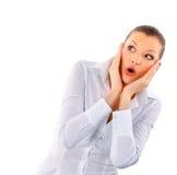 Glückliches überraschtes junges Mädchen, das Exemplarplatz betrachtet Lizenzfreie Stockfotos