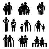 Glückliches Familien-Ikonen-Piktogramm Stockfotos