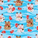 Glückliches Fisch-Seenahtloses Muster Maneki Neko Stockfoto