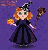 Glückliches Halloween Hexen- und Kürbiskarte des kleinen Mädchens Lizenzfreie Stockbilder