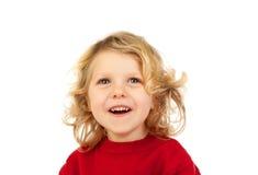 Glückliches kleines blondes Kind-whith Rottrikot Stockbild