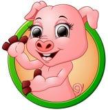 Glückliches lächelndes kleines Babykarikaturschwein im runden Rahmen Lizenzfreies Stockfoto