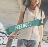 Glückliches Leben-Gefühl-gutes Glück Live Concept Stockfotos