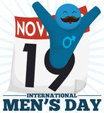 Glückliches männliches Symbol mit dem Schnurrbart, der internationalen Männer ` s Tag, Vektor-Illustration feiert Stockfotografie