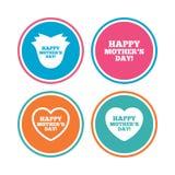 Glückliches Mothers& x27; s-Tagesikonen Mutterliebessymbole Stockfoto