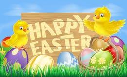 Glückliches Ostern-Zeichen Stockfotos