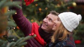 Glückliches Paar, das Weihnachtsbaum an Weihnachtsmesse wählt Junge Familie, die auf dem Weihnachtsmarkt spricht und küsst fröhli stock footage