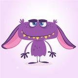 Glückliches purpurrotes Monster Monster-Charaktermaskottchen Vektor-Halloweens violettes Stockfotos