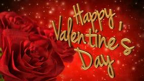 Glückliches Valentinsgrußtagesthema mit roten Rosen 3D übertragen Schleife stock video