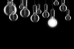 Glödande Edison för idé- och ledarskapbegreppstappning kulor på Fotografering för Bildbyråer