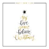 Glädje förälskelse, fred, tror, isolerad guld- text för jul Arkivfoton