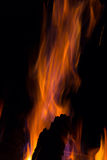 Gleam flame on  black background. Orange fire flames on  black background Royalty Free Stock Images