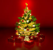 Gleaming christmas tree Stock Images