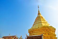 Gleaming Gold Pagoda of Wat Phra That Doi Suthep. In Chiang Mai, Thailand Royalty Free Stock Image
