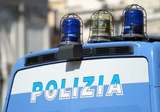Gleaming Italian police van with lights. Gleaming Italian police van with flashing lights and Stock Image