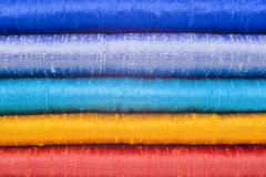 Gleaming Silk in Five Bright Colours Royalty Free Stock Images