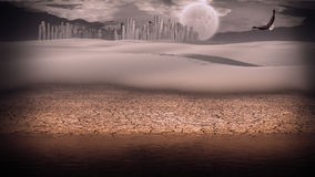 Gleaming silver desert city Stock Images