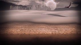 Gleaming silver desert city. Gleaming silver city in desert Stock Images