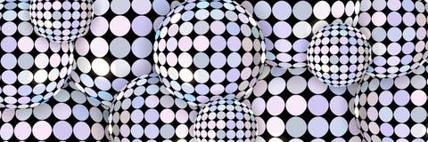 Gleamingssphers vatten 3d achtergrond samen Creatieve banner De spiegel steekt patroon aan stock illustratie