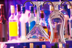 Glean glasses on hanger in the bar Royalty Free Stock Photos