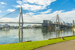 At Glebe Point looking past the Anzac Bridge to the city Stock Image