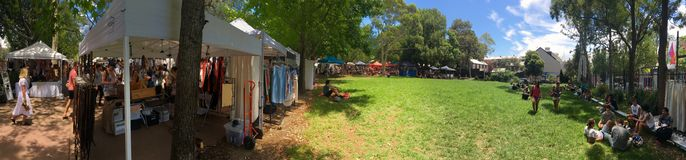 Glebe Saturday Market with spacious green field Stock Images