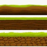 Glebowe Bezszwowe warstwy mlejąca warstwa Kamienie i trawa na brudach wektor ilustracji