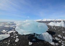 Gleczeru lód na plaży Iceland Zdjęcia Stock
