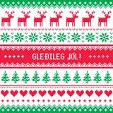 Gledileg Jol - Merry Christmas in Icelandic pattern, greetings card Royalty Free Stock Photo