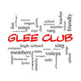 Glee Club Word Cloud Concept in red caps. With great terms such as music, sing, voices and more Stock Photo