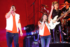 Glee Tour. Sacramento, CA - MAY 23: Corey Monteith and Lea Michelle perform at the Glee Live! In Concert! tour at the Power Balance Pavilion on May 23, 2011 in stock photo