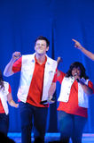Glee Tour. Sacramento, CA - MAY 23: Cory Monteith and Amber Riley performs at the Glee Live! In Concert! tour at the Power Balance Pavilion on May 23, 2011 in stock images