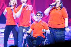 Glee Tour. Sacramento, CA - MAY 23: Kevin Mchale and cast members perform at the Glee Live! In Concert! tour at the Power Balance Pavilion on May 23, 2011 in stock photos
