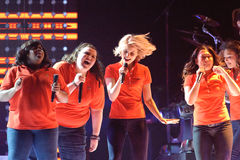 Glee Tour. Sacramento, CA - MAY 23: Amber Riley, Ashley Fink, Dianna Agron and Jenna Jenna Ushkowitz perform at the Glee Live! In Concert! tour at the Power royalty free stock image