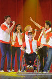 Glee Tour. Sacramento, CA - MAY 23: Cory Monteith, Naya Rivera,, Dianna Agron, Kevin McHale and Harry Shum Jr. perform at the Glee Live! In Concert! tour at the stock photography