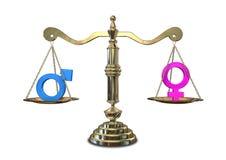 Gleichberechtigung der Geschlechter-balancierende Skala Stockfotografie