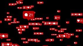 Gleiche mit Herzen in der flachen Art für Soziales Netz Schwarzer Hintergrund lizenzfreie abbildung