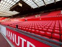 Gleichen Sie nicht Tag auf Manchester United-Weststand ab Stockbild