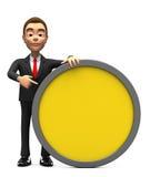 Gleichgültiger Geschäftsmann mit einem gelben Kreis stockfotos