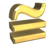 Gleichgestelltes circa Mathesymbol im Gold Stockfoto