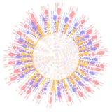Gleichheit gefärbte Kreis-Zeichen-Klipp-Kunst Stockfotografie