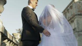 Gleichheit, Krawatte und Kristallschmucksachen Reizender Bräutigam und Braut Glückliche Familie Mann und Frau in der Liebe Glückl stock footage