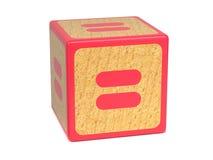 Gleichheitszeichen - das Alphabet-Block der Kinder. Stockbilder