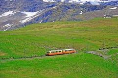Gleis der schmalen Lehre. Die Schweiz. lizenzfreies stockbild