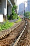 Gleis in Hong Kong, helle Schiene. Stockbild