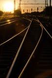 Gleis im Sonnenuntergang Lizenzfreies Stockfoto