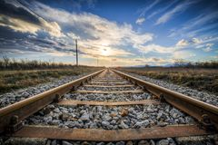 Gleise, Old Railroad Tracks, Seemed Stock Images