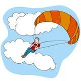 Gleitschirmfliegen-Mann Stockfotos